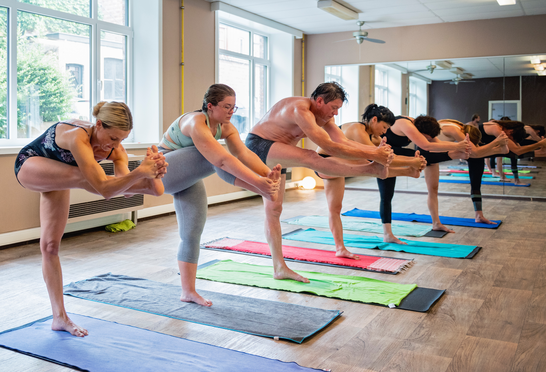 Hot yoga session